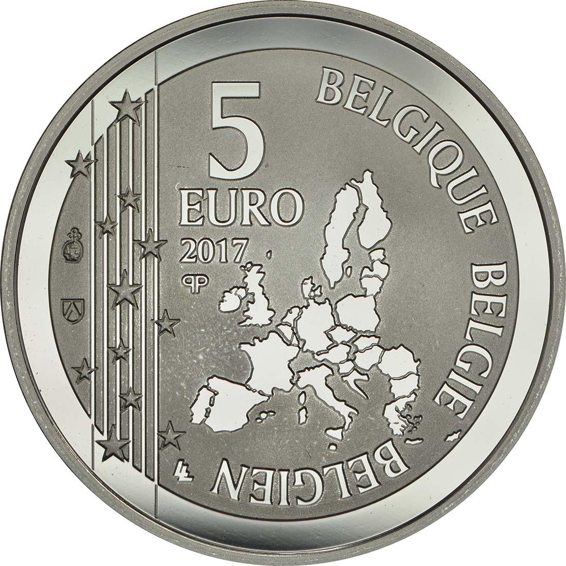 Rückseite :Belgien : 5 Euro 50 Jahre erste Herztransplantation  2017 PP