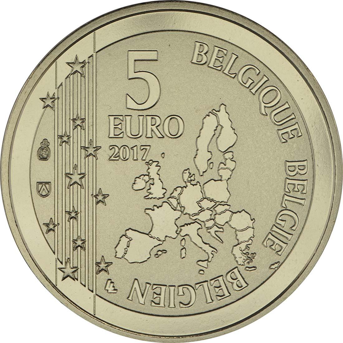 Rückseite:Belgien : 5 Euro 60 Jahre Guust Flater / Gaston Lagaffe  2017 bfr