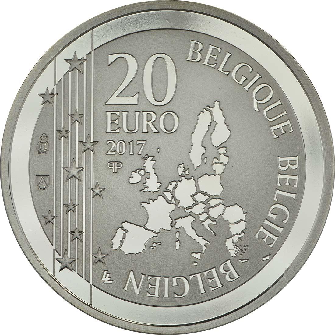 Rückseite :Belgien : 20 Euro 200. Geburtstag von Joseph Poelaert  2017 PP