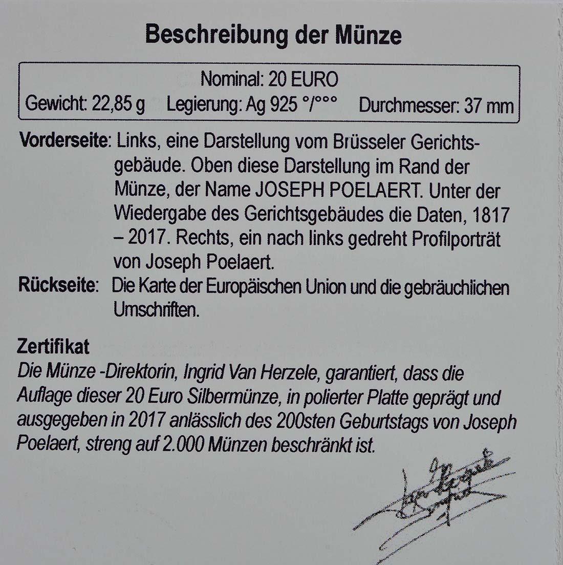Zertifikat:Belgien : 20 Euro 200. Geburtstag von Joseph Poelaert  2017 PP