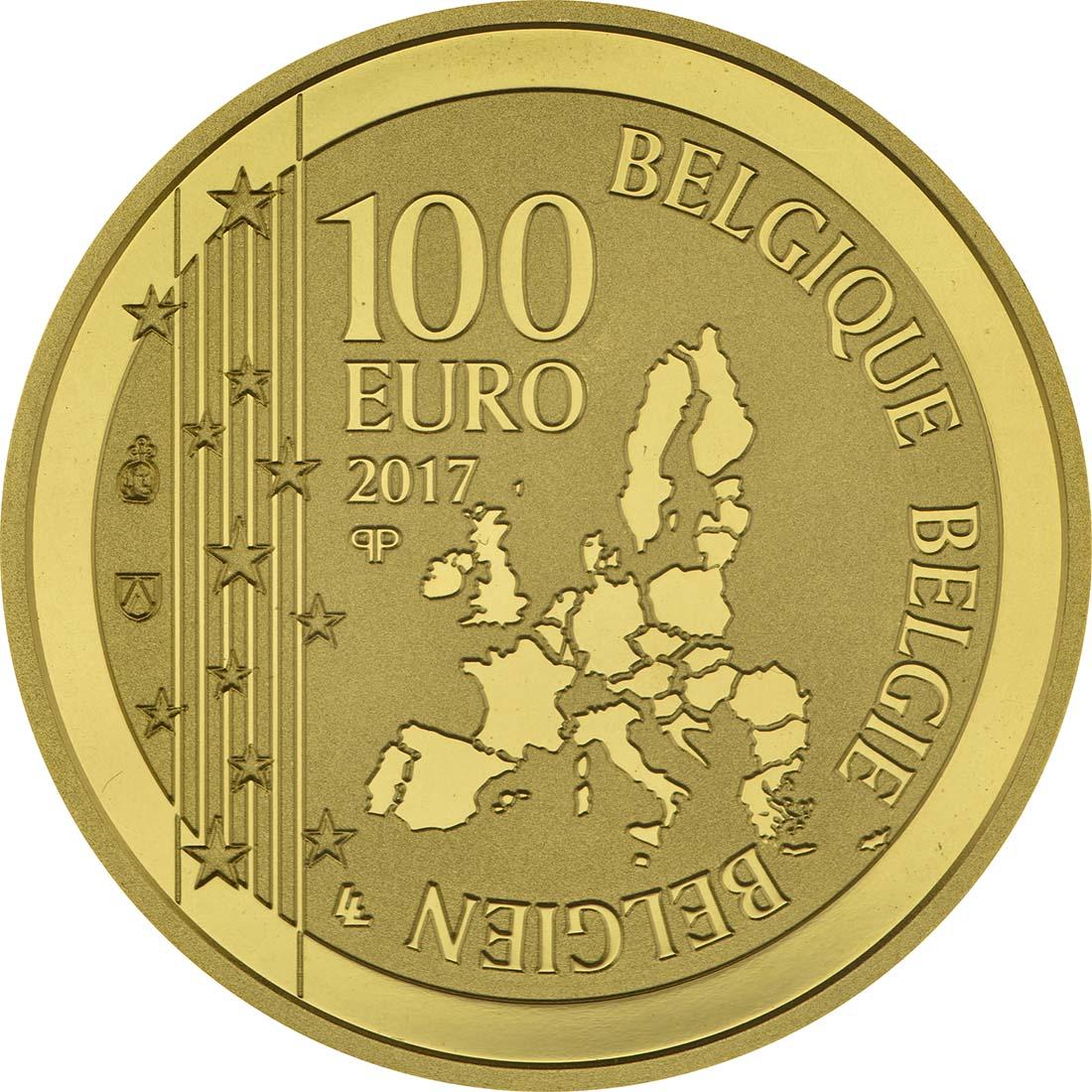 Rückseite :Belgien : 100 Euro 50. Todestag von René Margritte  2017 PP