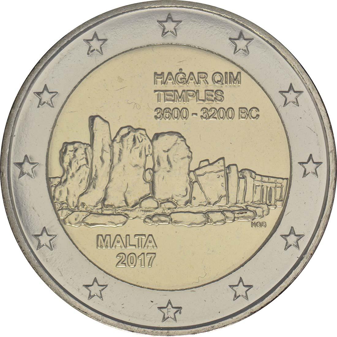 Rückseite:Malta : 5,88 Euro KMS Malta mit 2 Euro Gedenkmünze Hagar Qim  2017 Stgl.