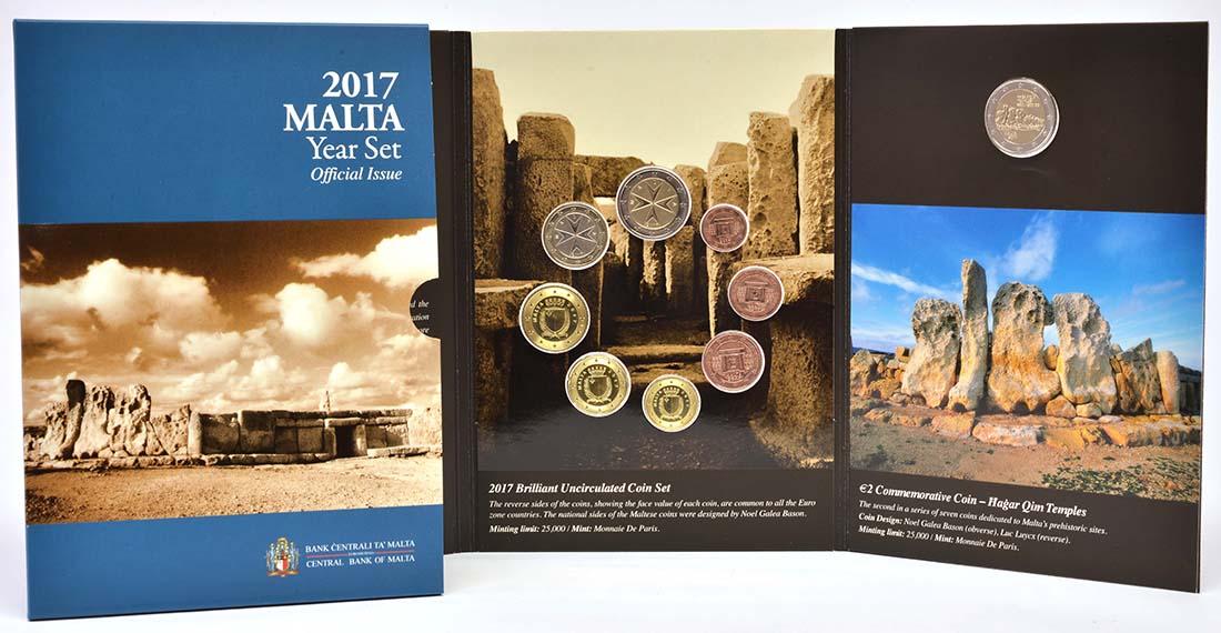 Lieferumfang:Malta : 5,88 Euro KMS Malta mit 2 Euro Gedenkmünze Hagar Qim  2017 Stgl.