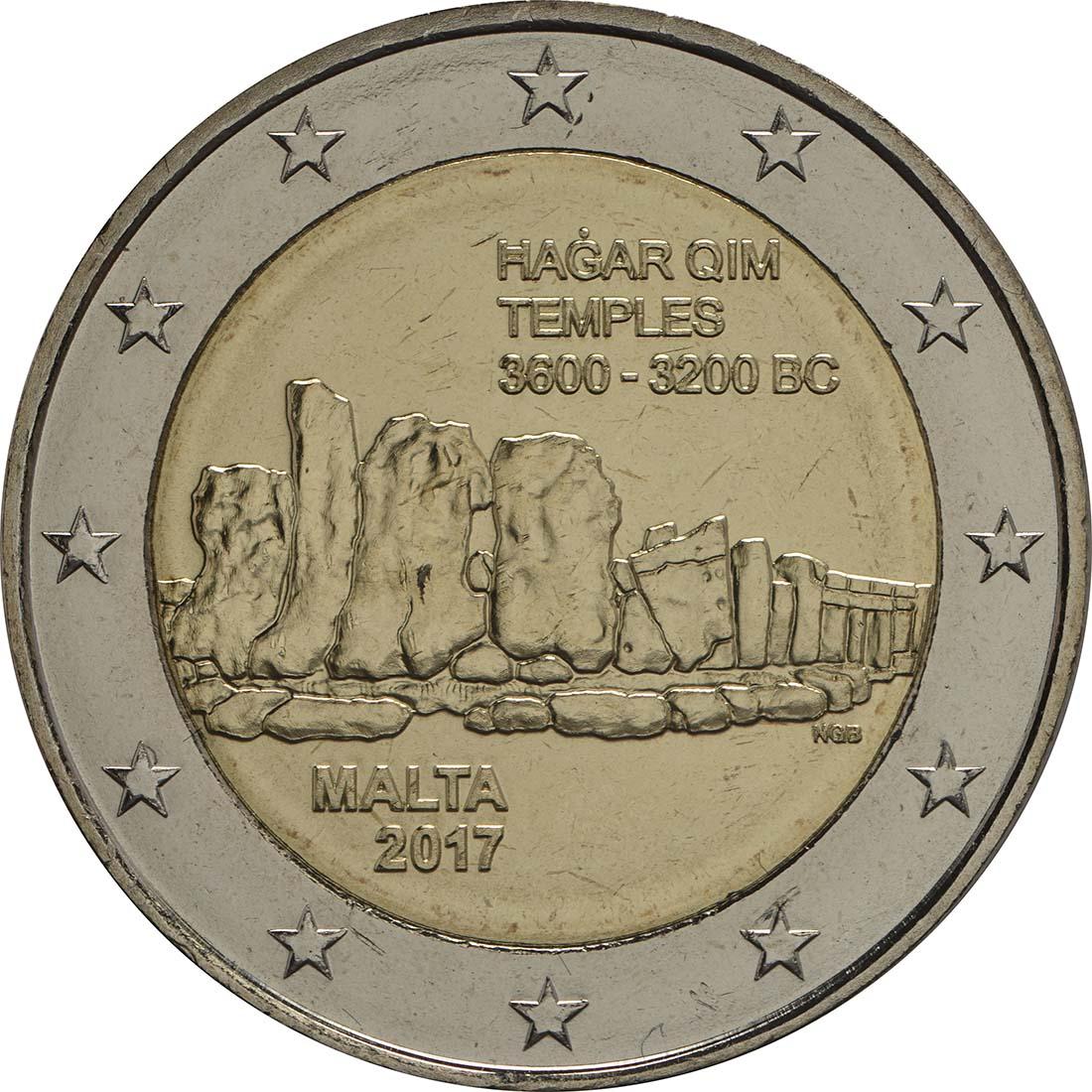Rückseite :Malta : 2 Euro Hagar Qim  2017 bfr