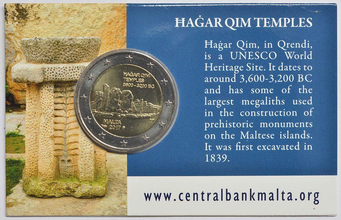 Zertifikat:Malta : 2 Euro Hagar Qim  2017 Stgl.