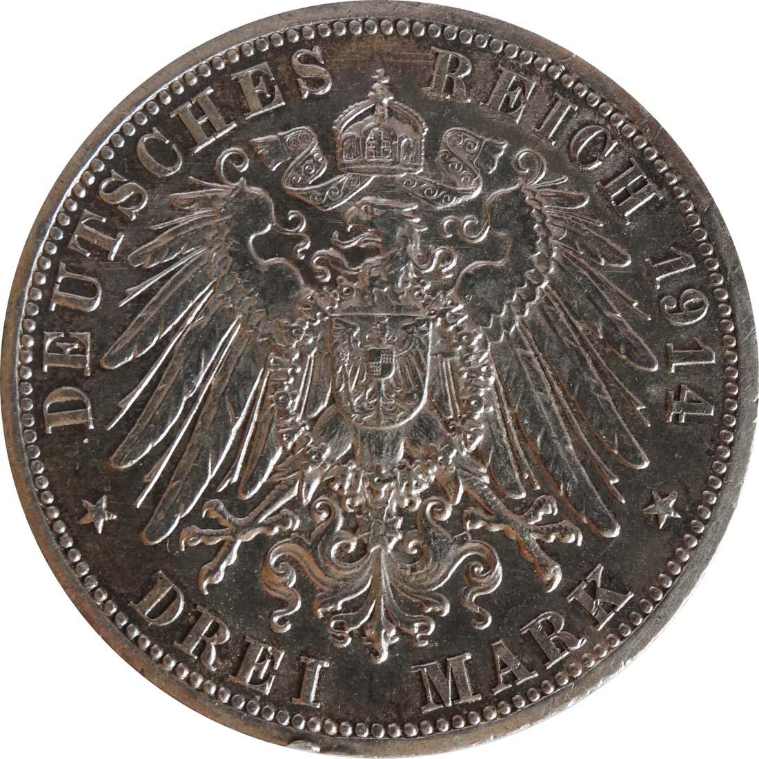 Rückseite:Deutschland : 3 Mark Friedrich II. u. Marie winz. Rs., patina 1914 vz.