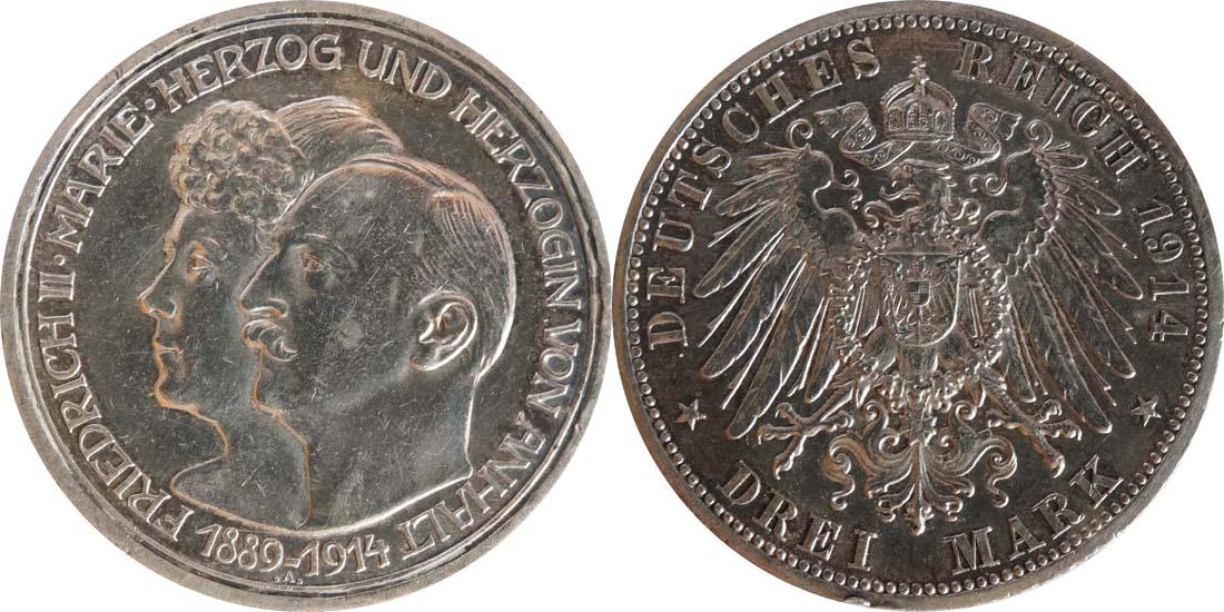 Lieferumfang:Deutschland : 3 Mark Friedrich II. u. Marie winz. Rs., patina 1914 vz.