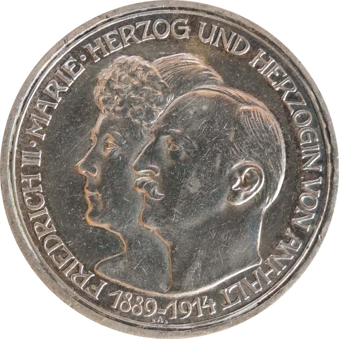 Vorderseite:Deutschland : 3 Mark Friedrich II. u. Marie winz. Rs., patina 1914 vz.