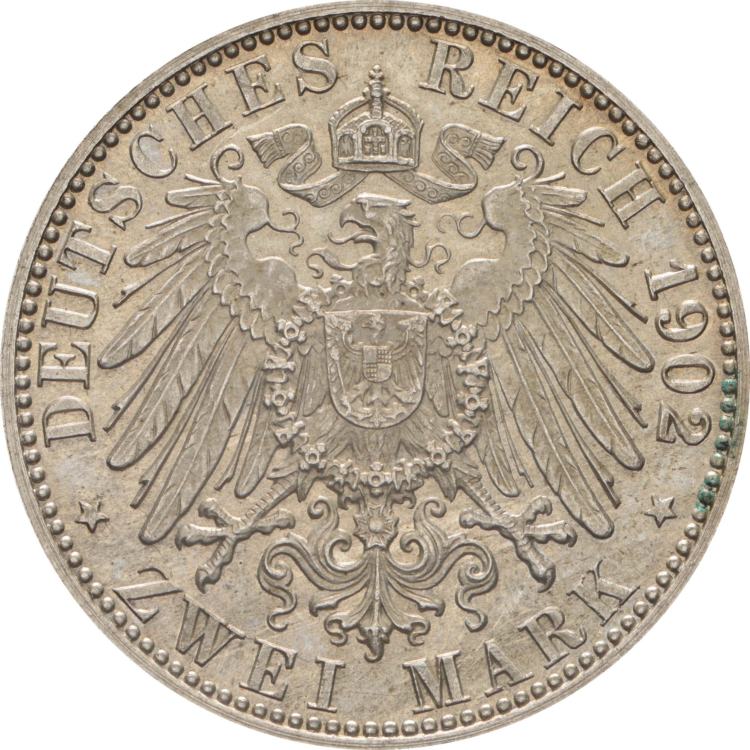 Rückseite :Deutschland : 2 Mark Friedrich I.  1902 Stgl.