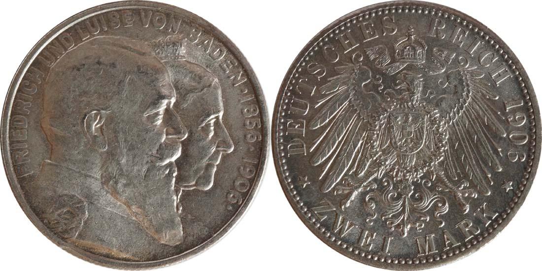 Deutschland : 2 Mark Friedrich u. Luise  1906 vz/Stgl.