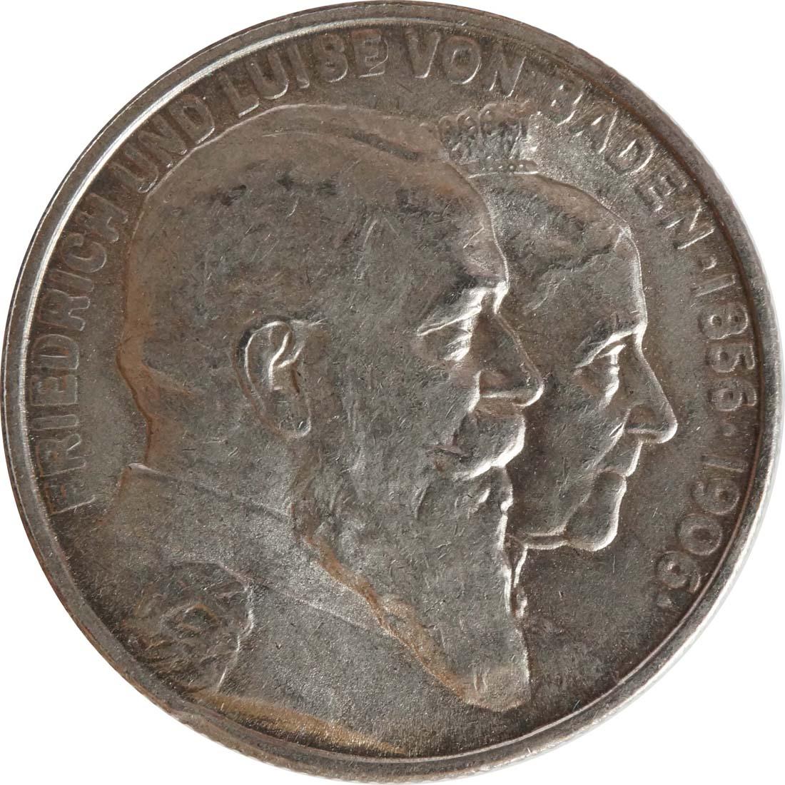 Vorderseite :Deutschland : 2 Mark Friedrich u. Luise  1906 vz/Stgl.