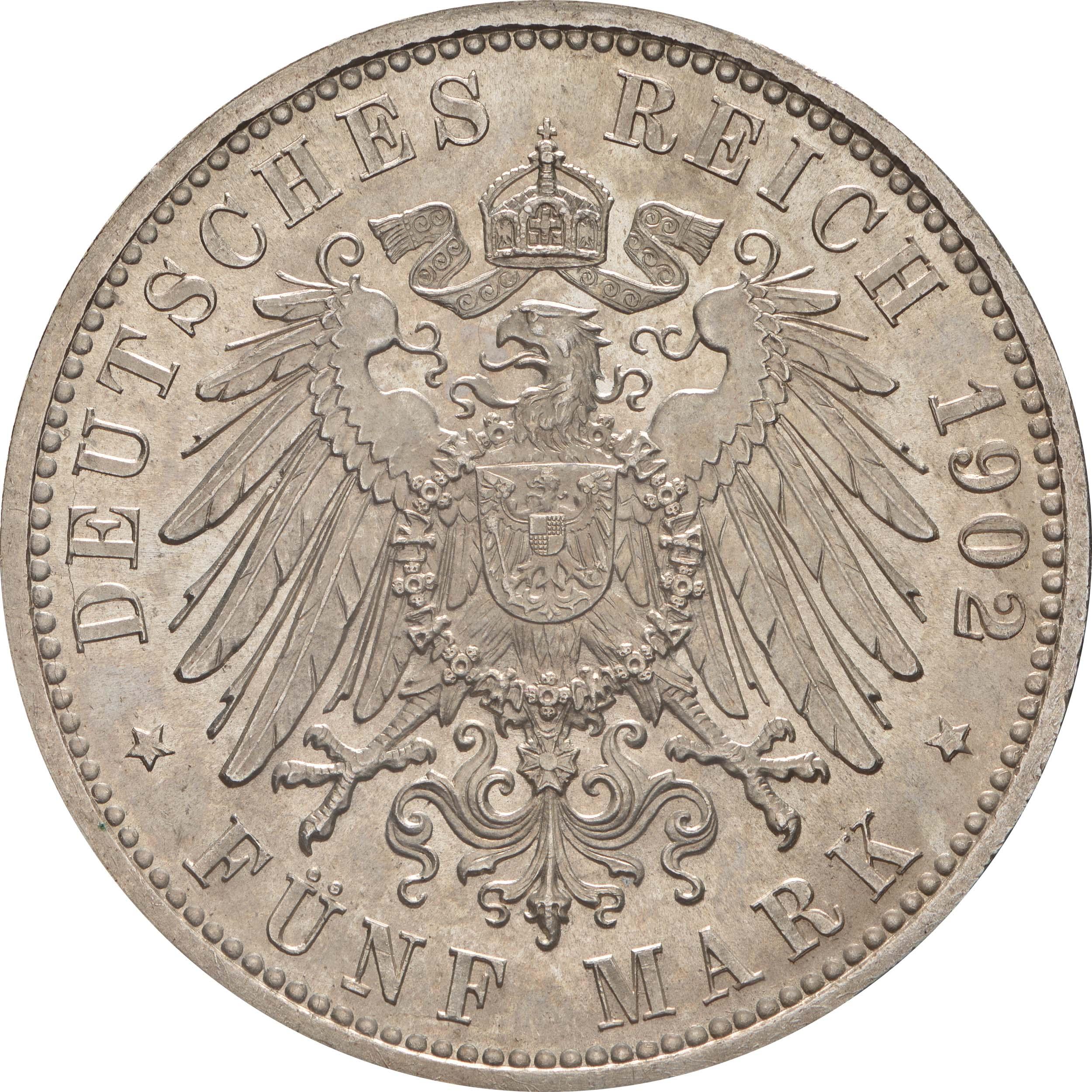 Rückseite :Deutschland : 5 Mark Friedrich I. -fein- 1902 Stgl.