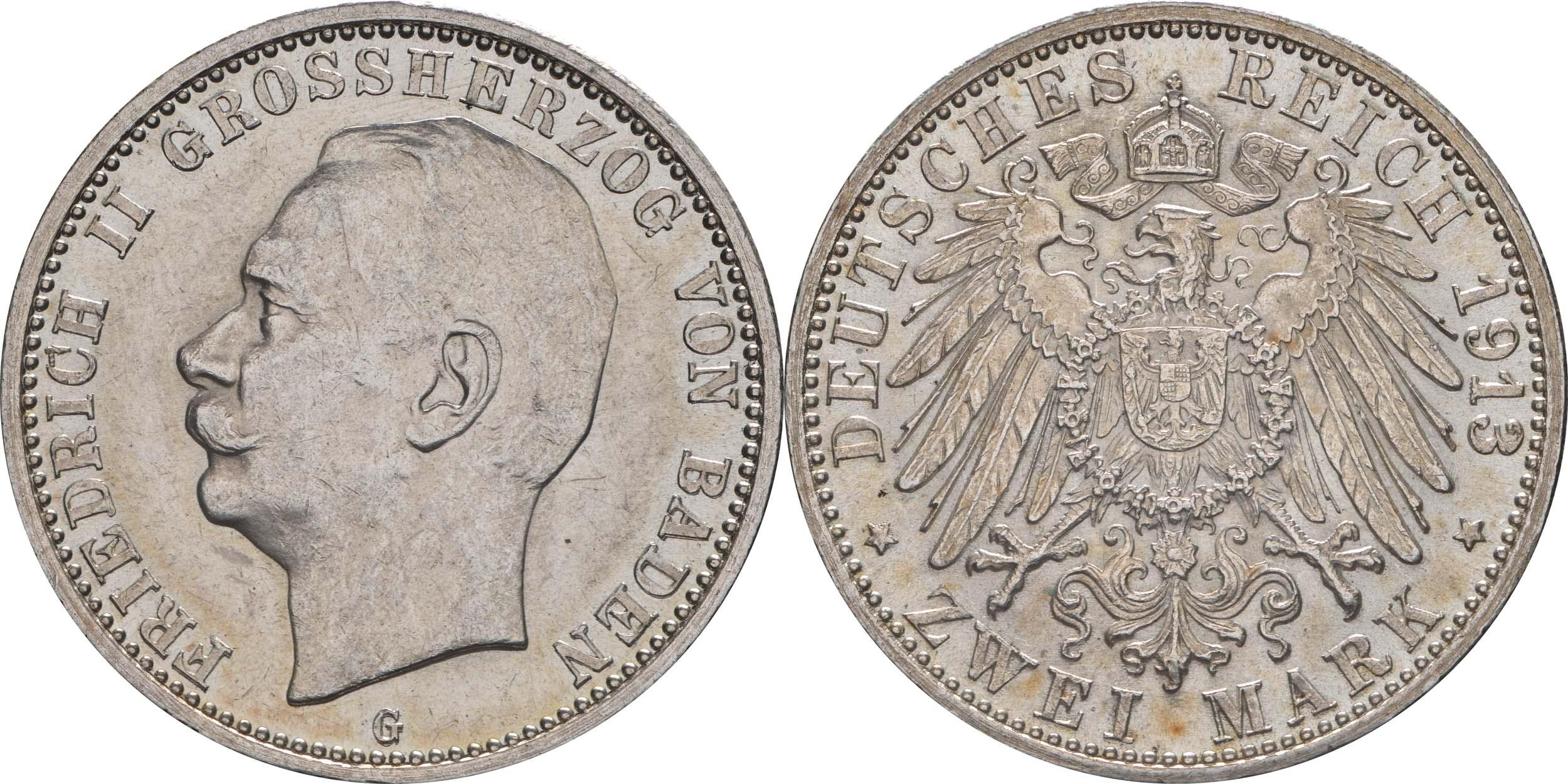 Deutschland : 2 Mark Friedrich II. patina 1913 Stgl.