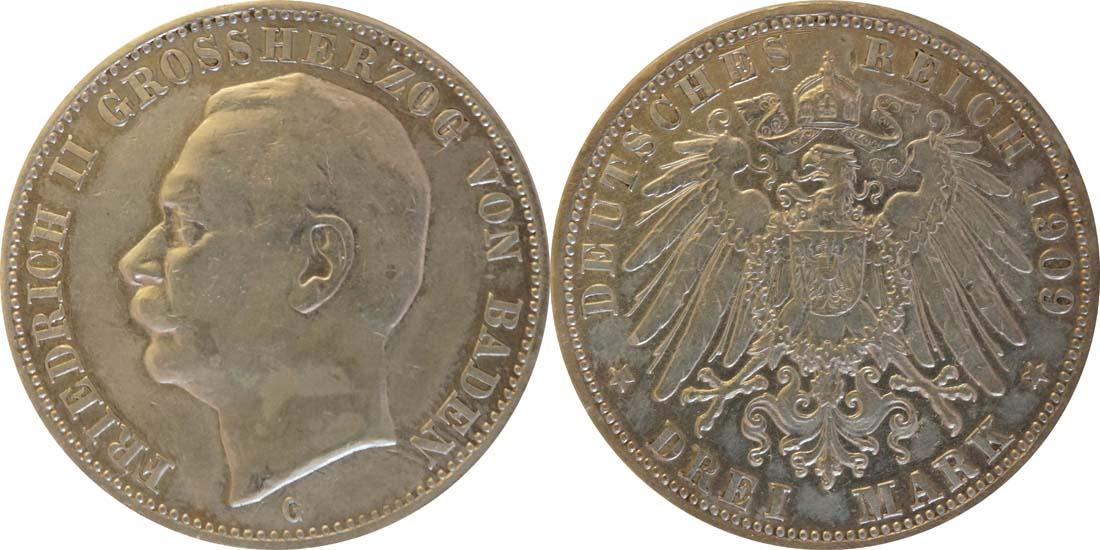 Übersicht:Deutschland : 3 Mark Friedrich II.  1909 ss.
