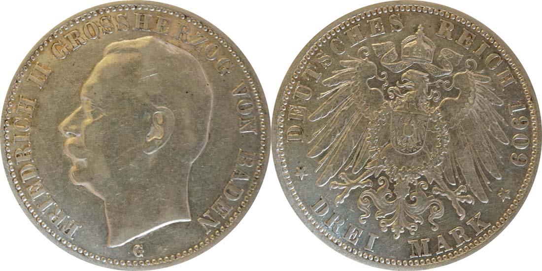 Deutschland : 3 Mark Friedrich II.  1909 ss/vz.