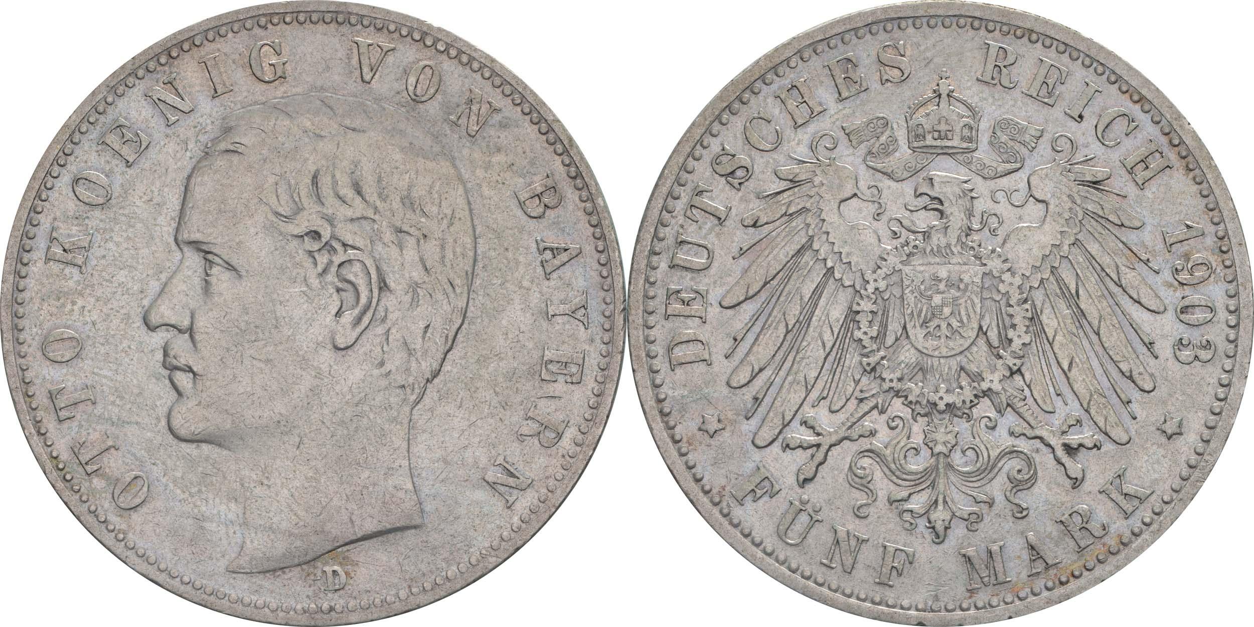 Deutschland : 5 Mark Otto  1903 ss.