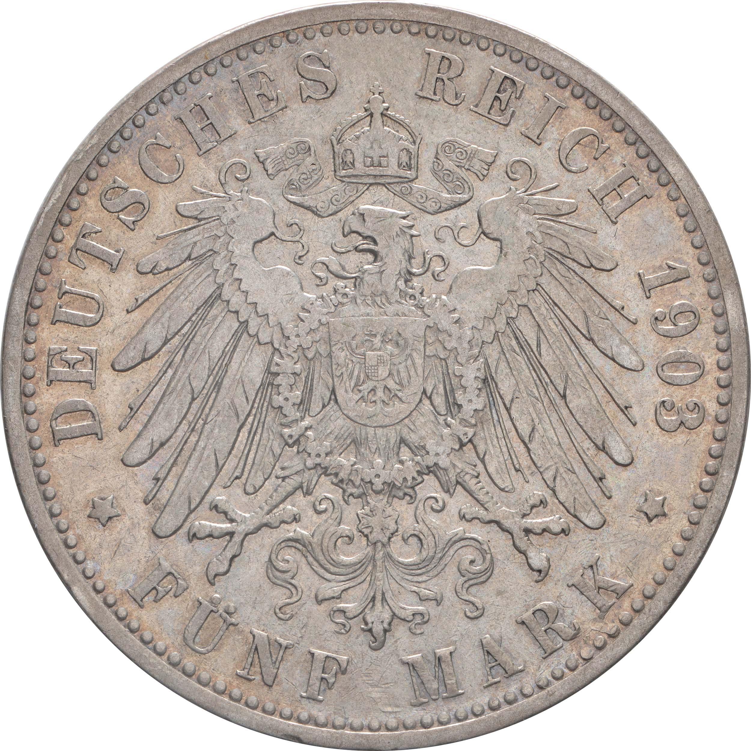 Rückseite:Deutschland : 5 Mark Otto  1903 ss.