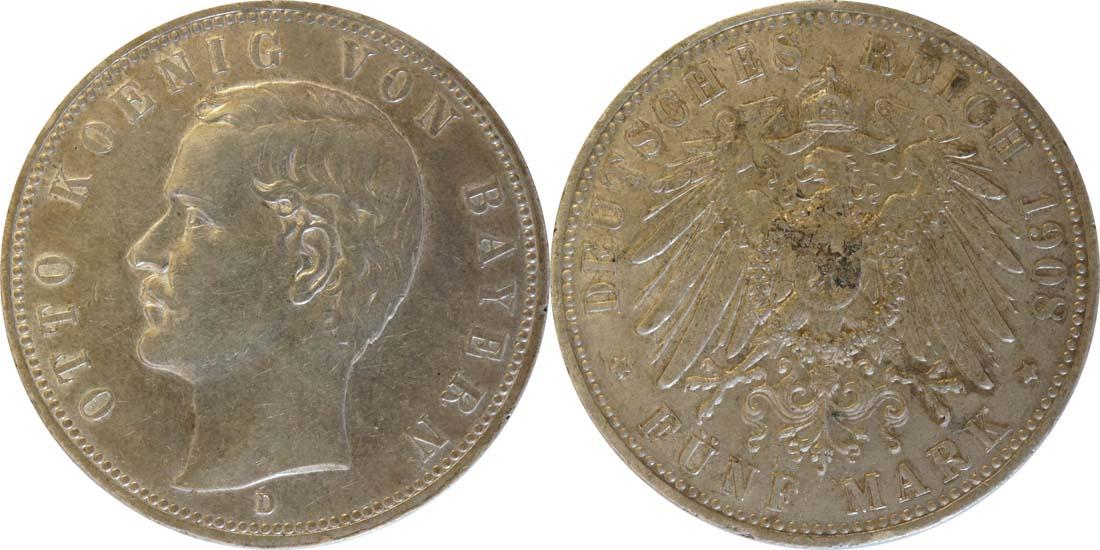Deutschland : 5 Mark Otto  1908 ss/vz.