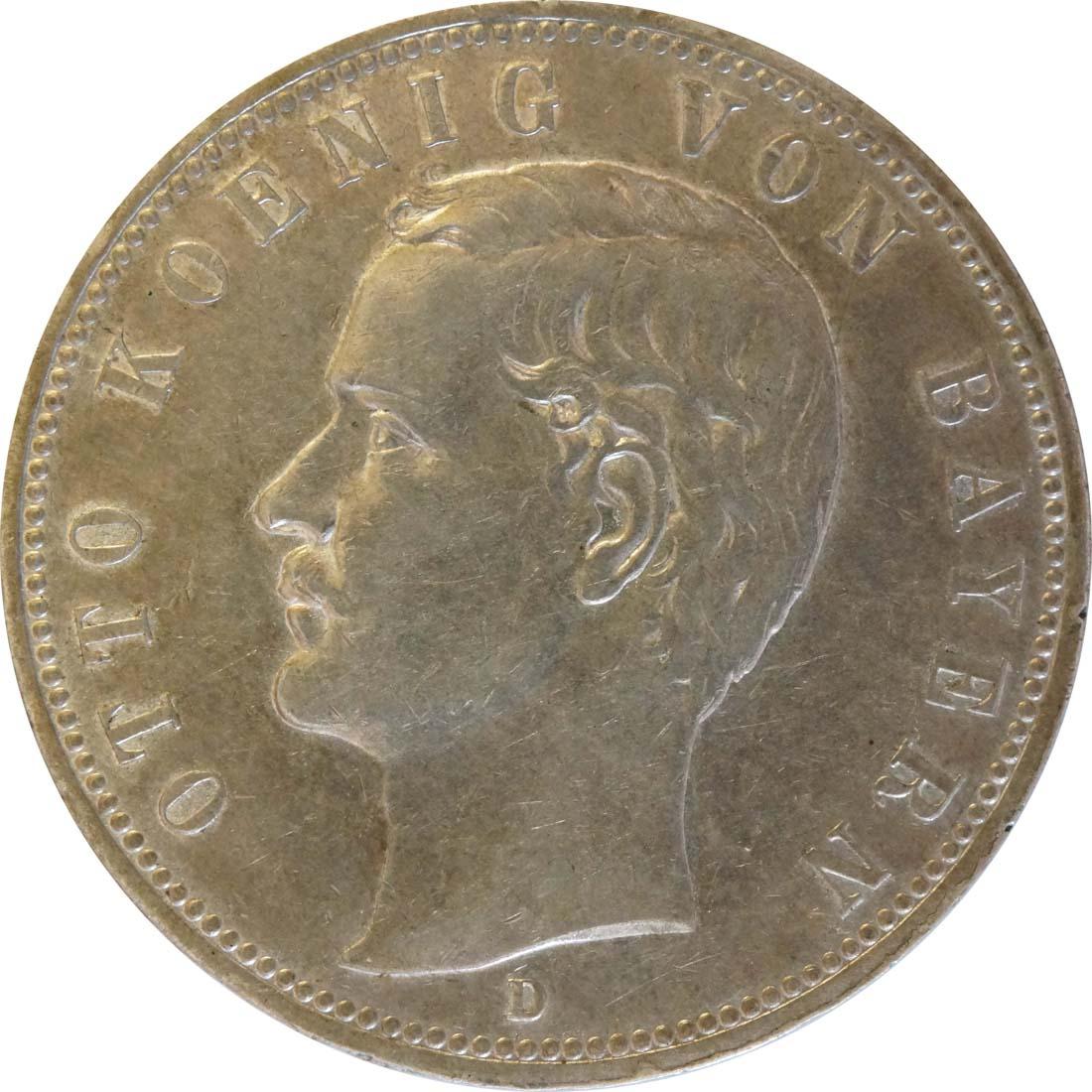 Vorderseite:Deutschland : 5 Mark Otto  1908 ss/vz.