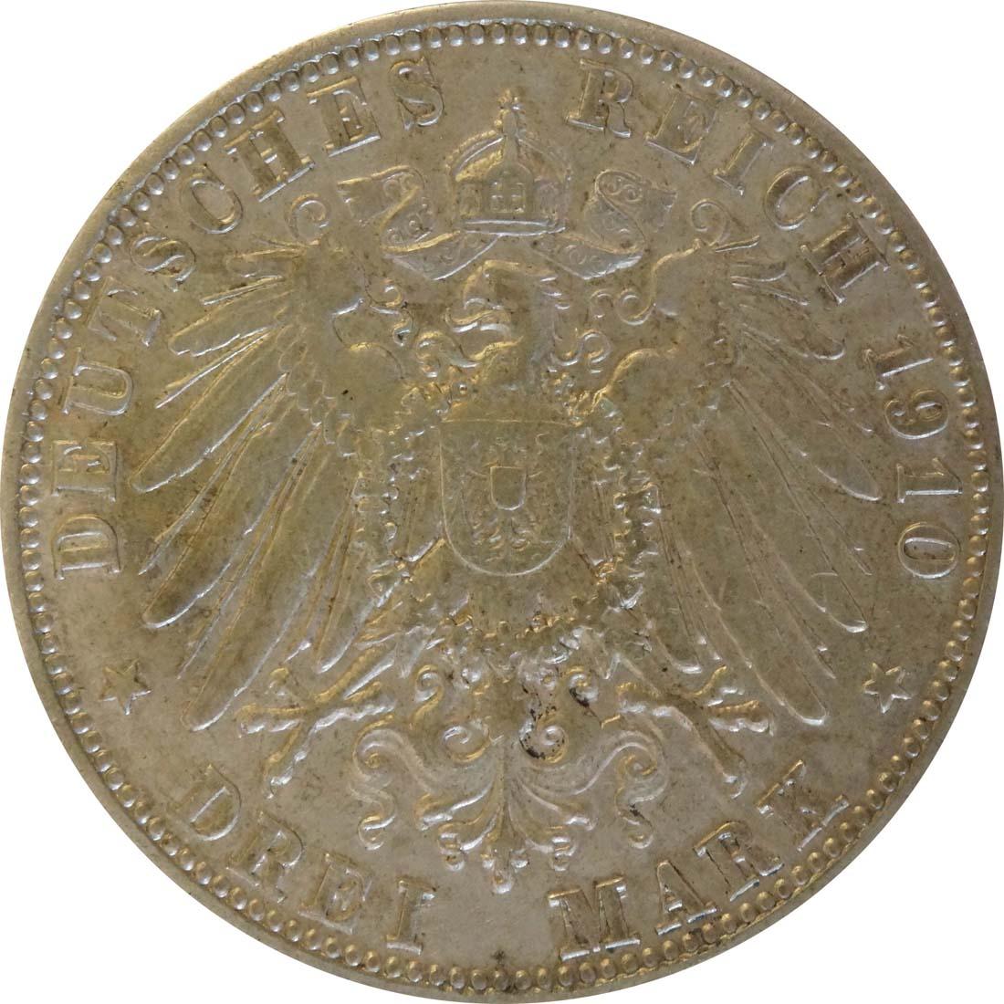 Rückseite:Deutschland : 3 Mark Otto  1910 ss.