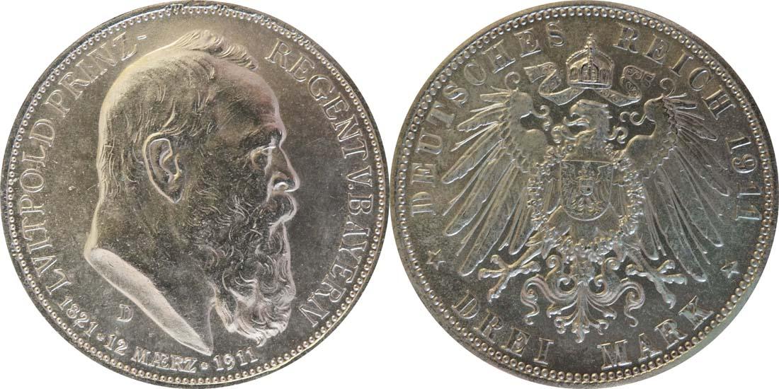 Deutschland : 3 Mark Luitpold  1911 ss/vz.