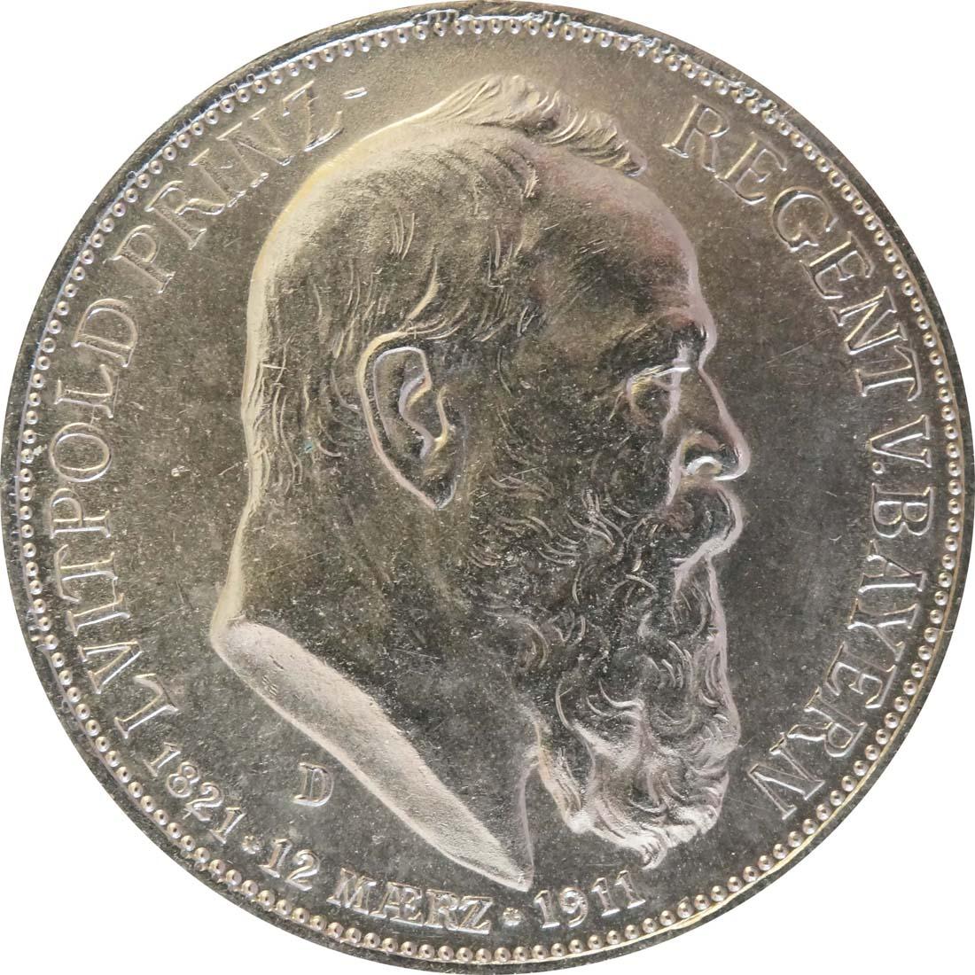 Vorderseite:Deutschland : 3 Mark Luitpold  1911 ss/vz.