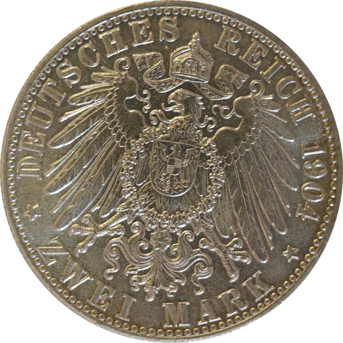 Rückseite:Deutschland : 2 Mark Stadtwappen  1904 Stgl.