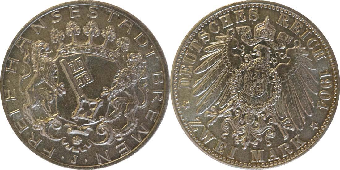 Übersicht:Deutschland : 2 Mark Stadtwappen  1904 Stgl.