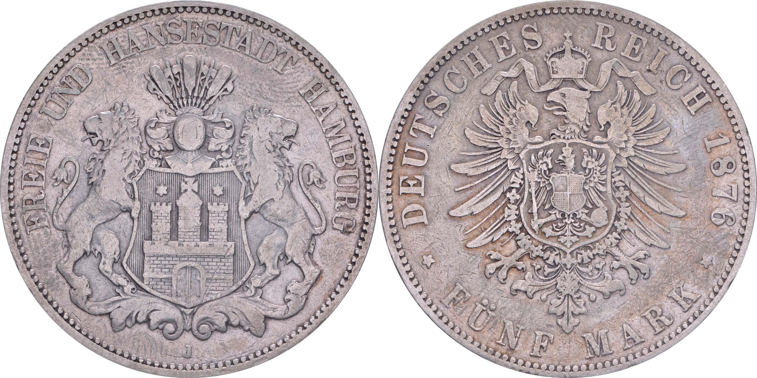 Lieferumfang:Deutschland : 5 Mark Stadtwappen  1876 s/ss.
