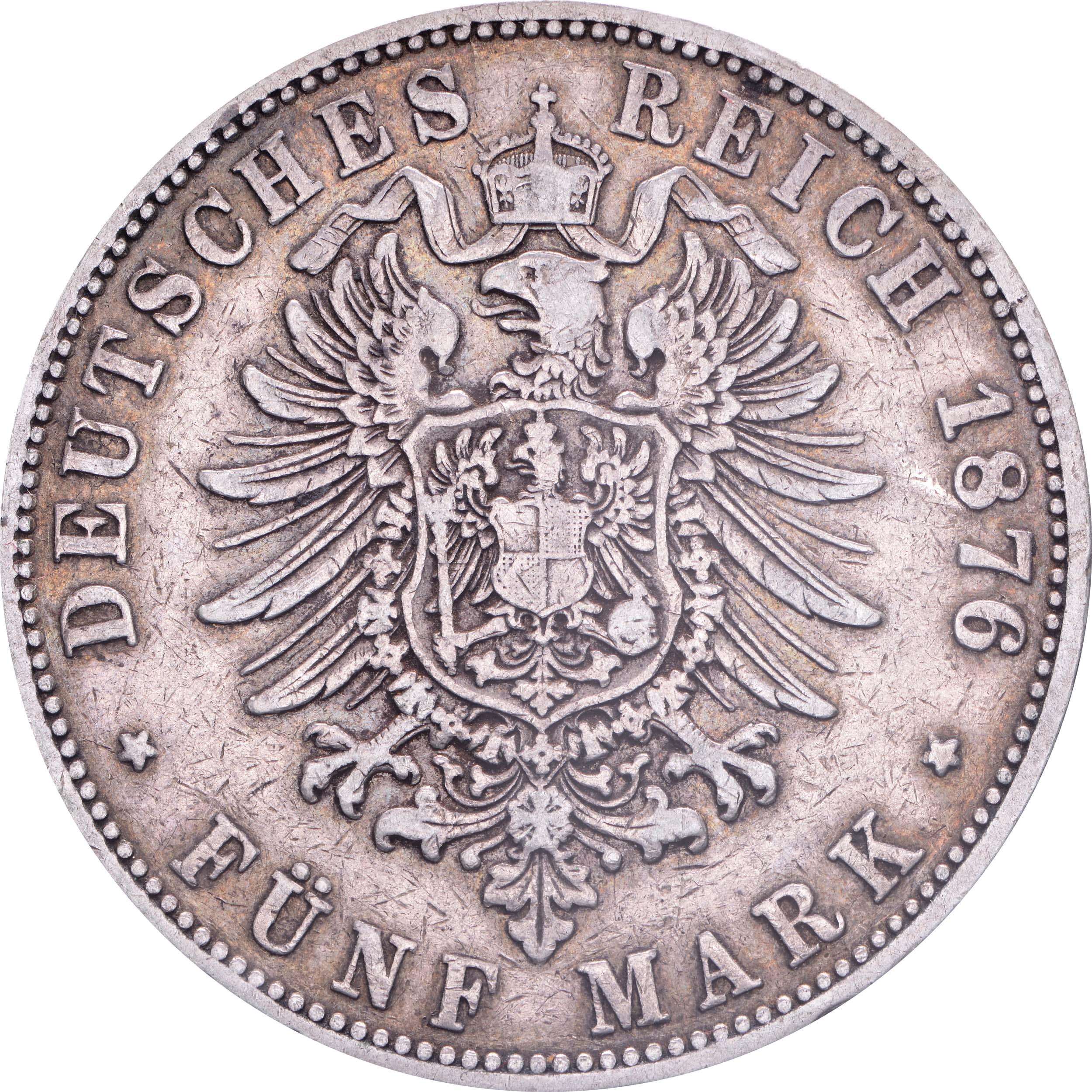 Rückseite:Deutschland : 5 Mark Stadtwappen  1876 s/ss.