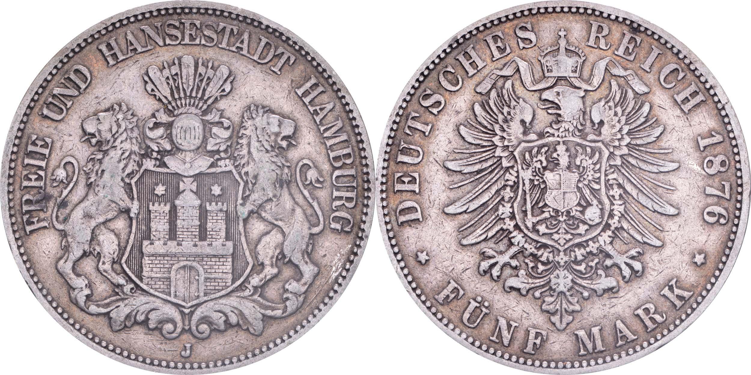 Deutschland : 5 Mark Stadtwappen  1876 s/ss.