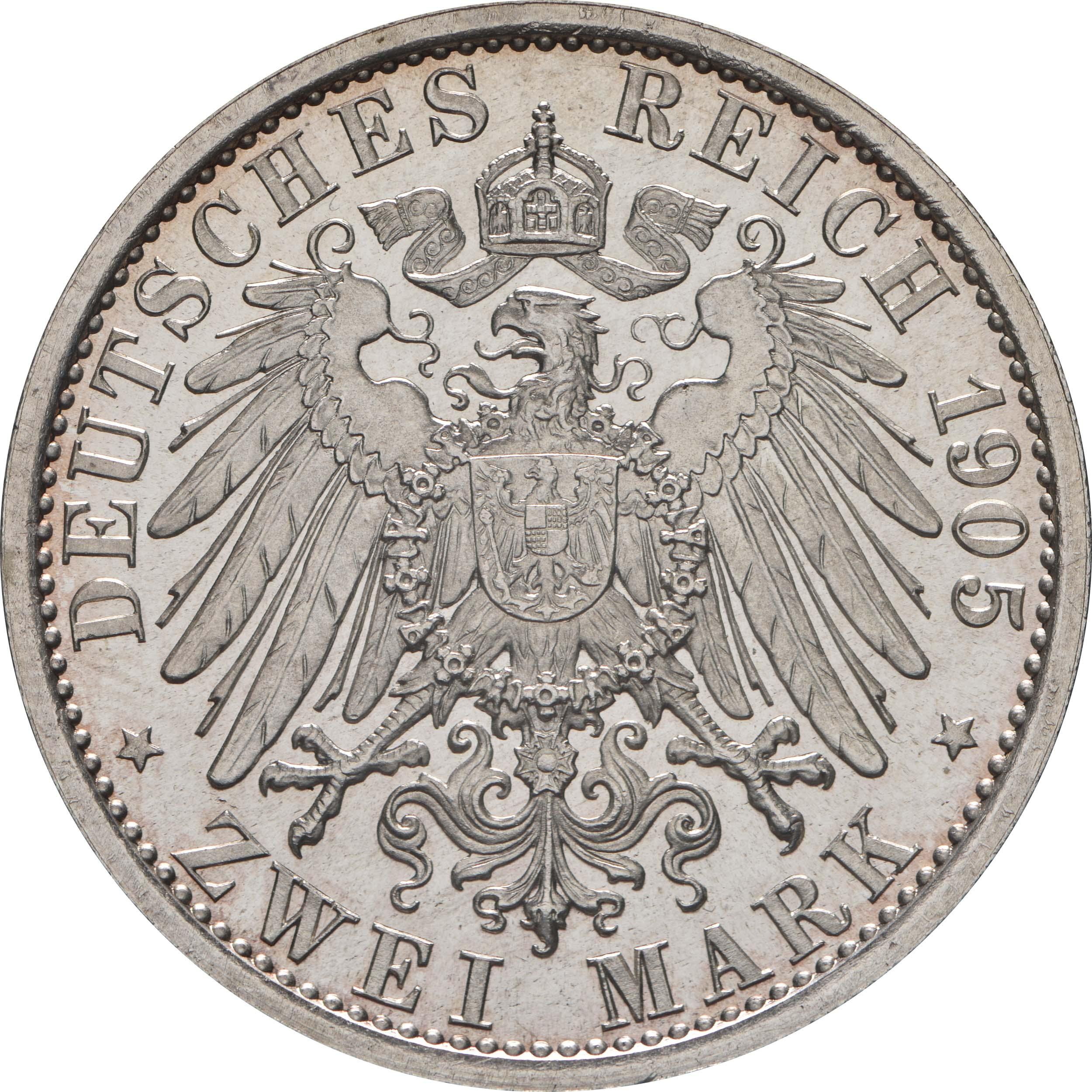 Rückseite:Deutschland : 2 Mark Karl Günther - aus PP  1905 Stgl.