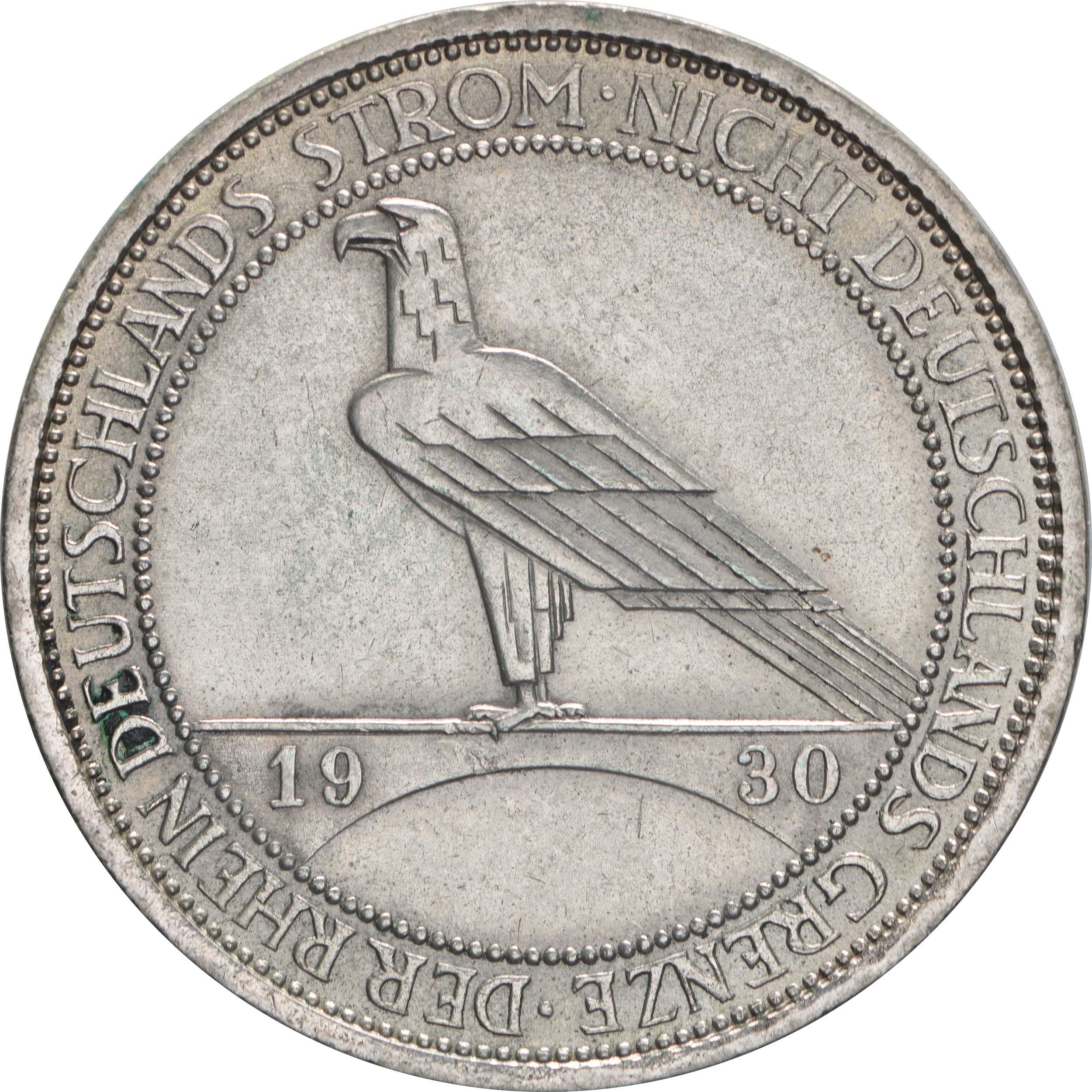 deutschland 3 reichsmark rheinlandraeumung 1930 a silber vz euro. Black Bedroom Furniture Sets. Home Design Ideas