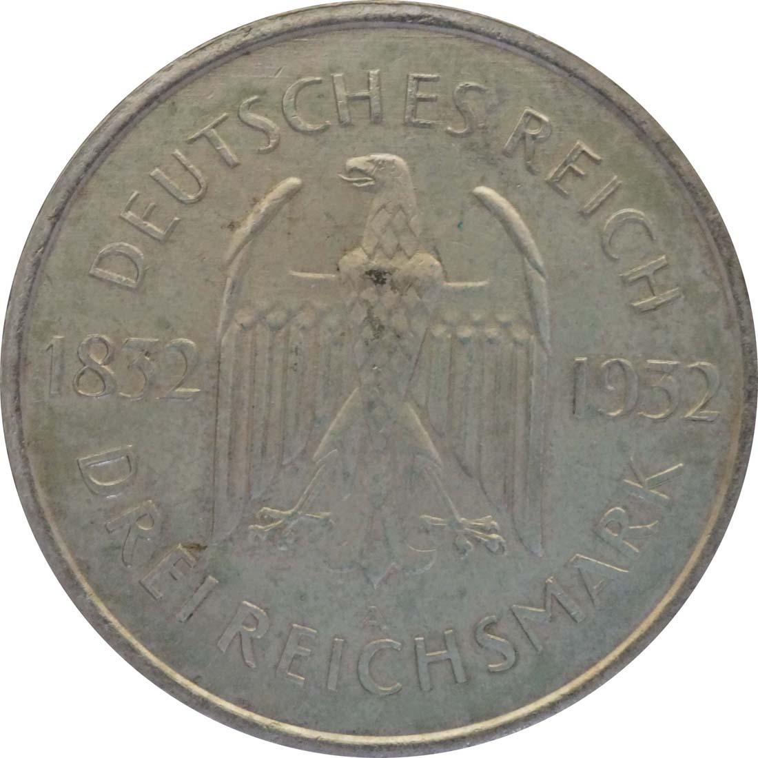 deutschland 3 reichsmark goethe 1932 a silber vz 85 euro. Black Bedroom Furniture Sets. Home Design Ideas