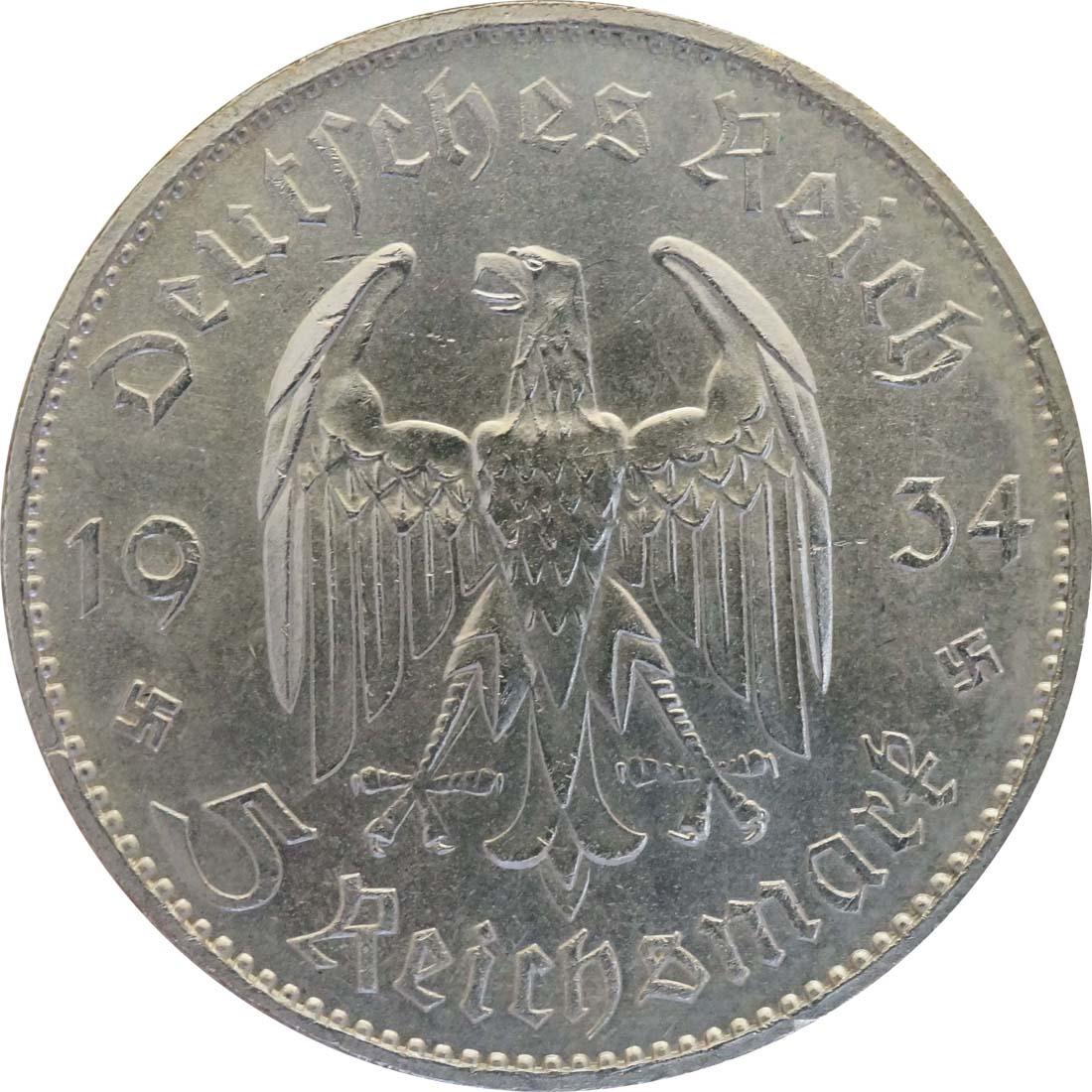 Rückseite:Deutschland : 5 Reichsmark Kirche mit Datum winz. Kratzer 1934 vz/Stgl.