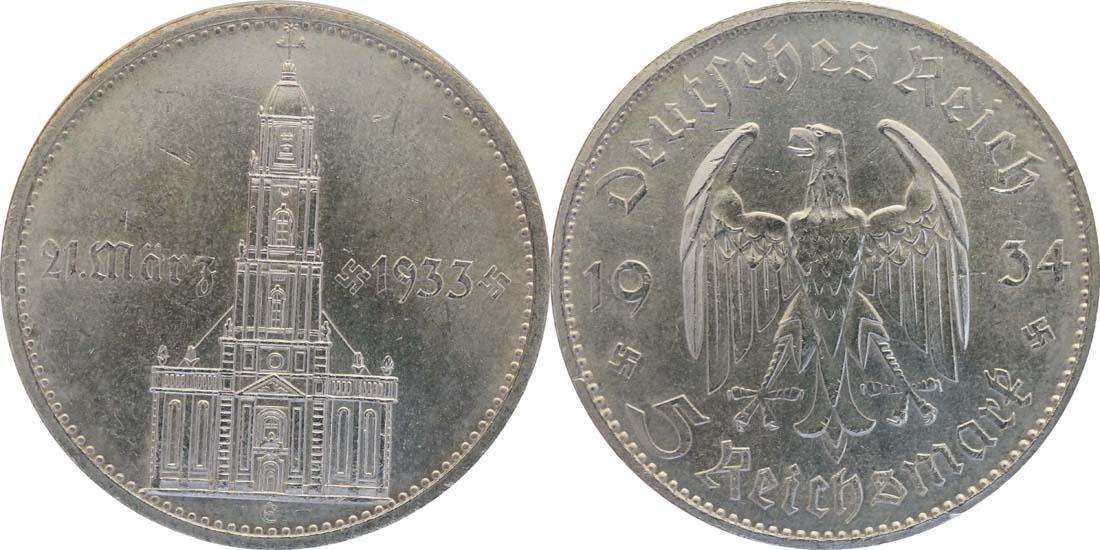 Deutschland : 5 Reichsmark Kirche mit Datum winz. Kratzer 1934 vz/Stgl.