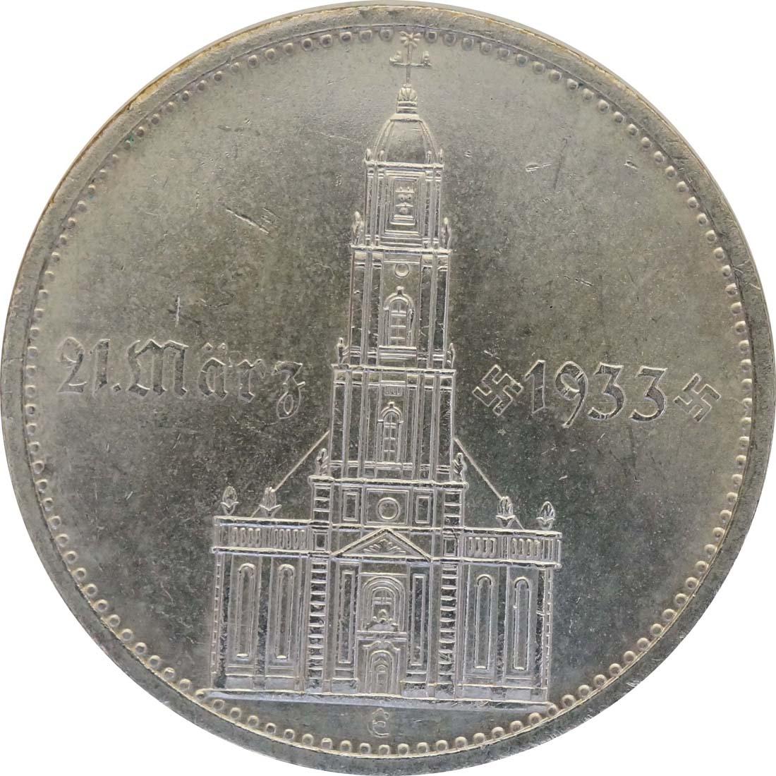 Vorderseite:Deutschland : 5 Reichsmark Kirche mit Datum winz. Kratzer 1934 vz/Stgl.