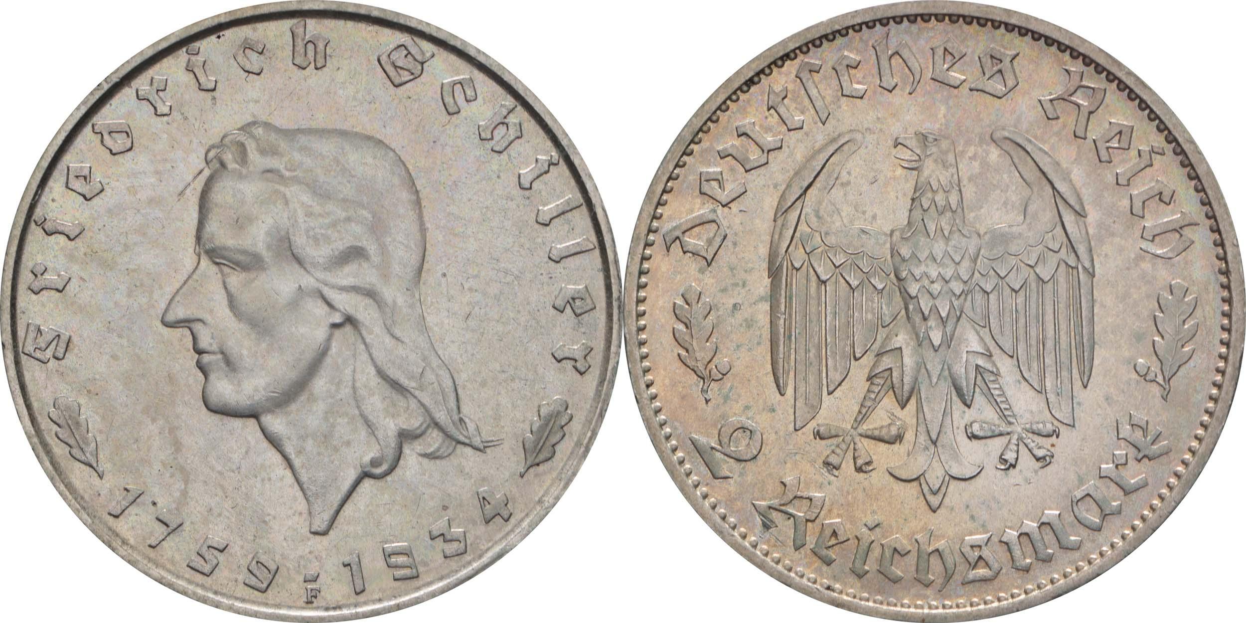 Deutschland : 2 Reichsmark Schiller  1934 vz/Stgl.