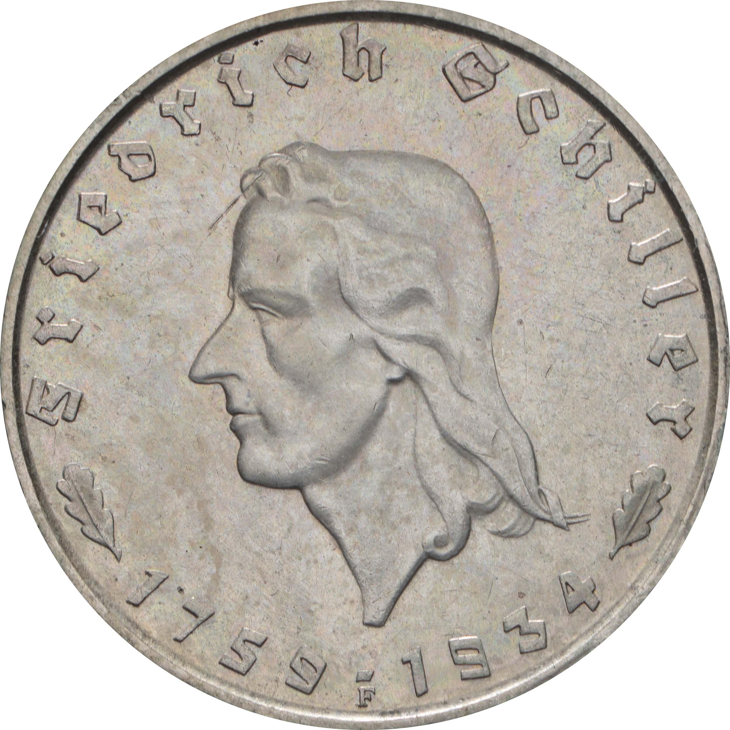 Vorderseite :Deutschland : 2 Reichsmark Schiller  1934 vz/Stgl.