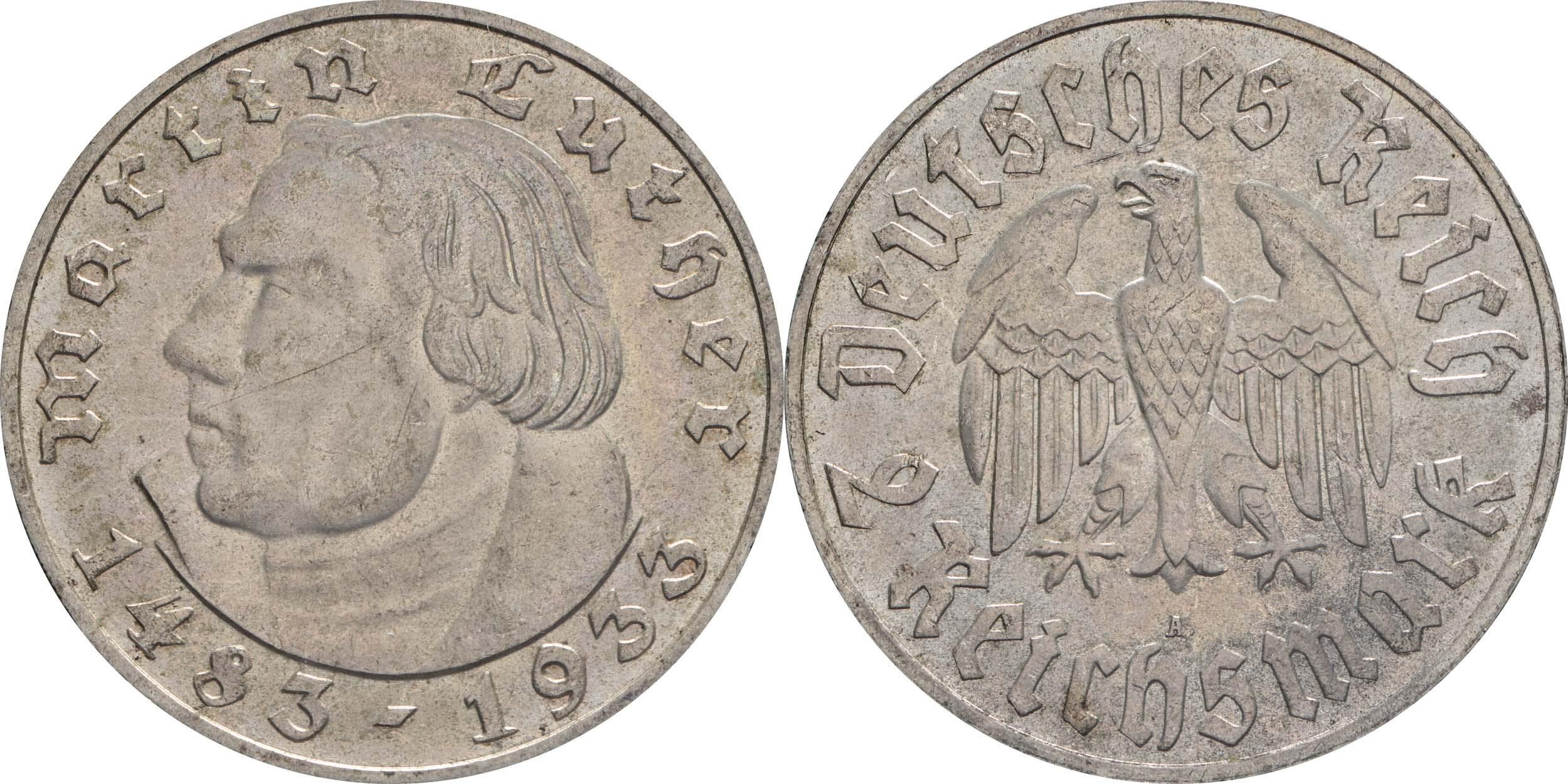 Deutschland : 2 Reichsmark Luther patina 1933 Stgl.