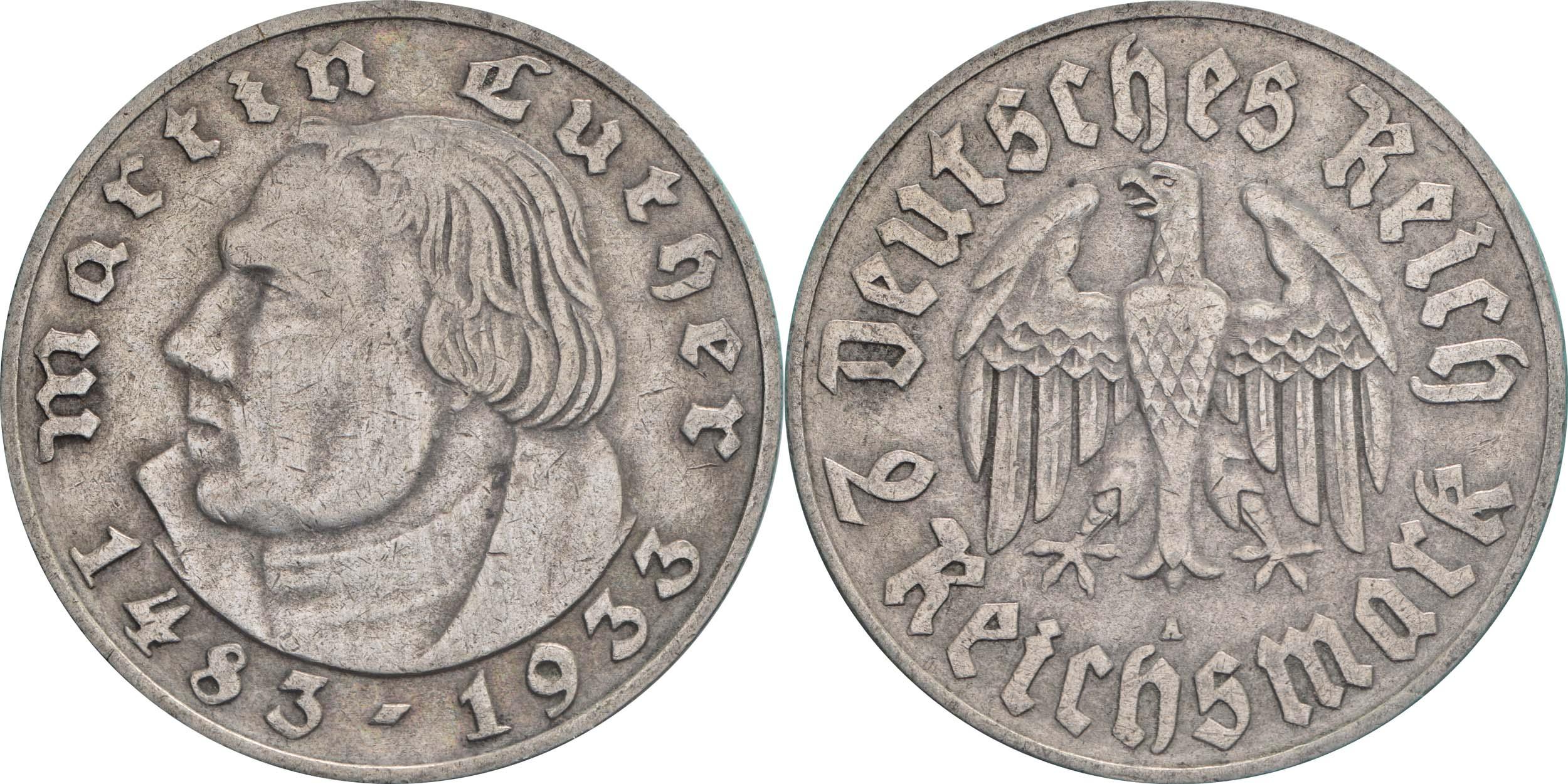 Deutschland : 2 Reichsmark Luther  1933 ss.