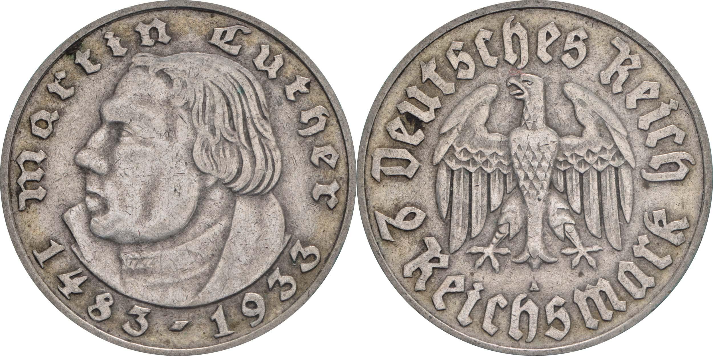 Übersicht:Deutschland : 2 Reichsmark Luther  1933 ss.