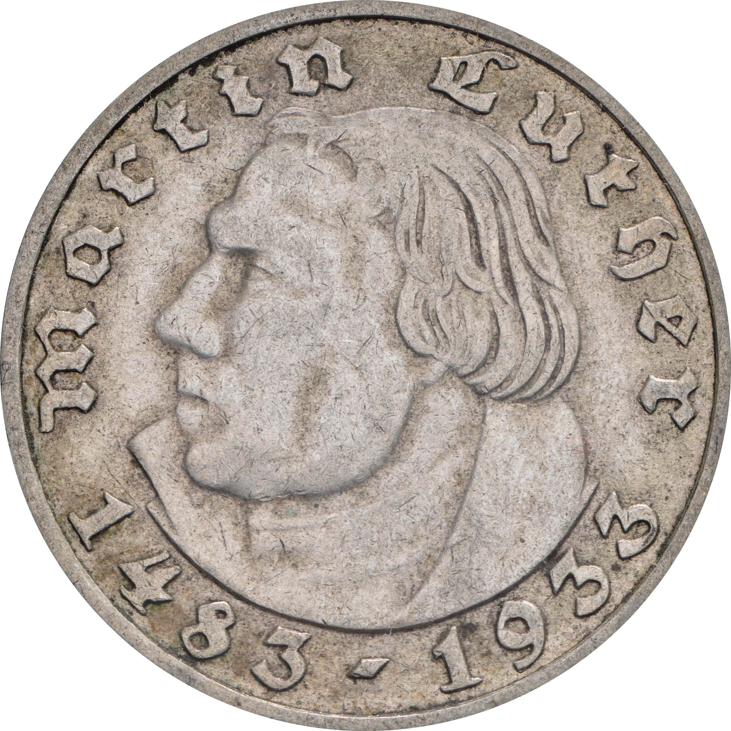 Vorderseite :Deutschland : 2 Reichsmark Luther  1933 ss.