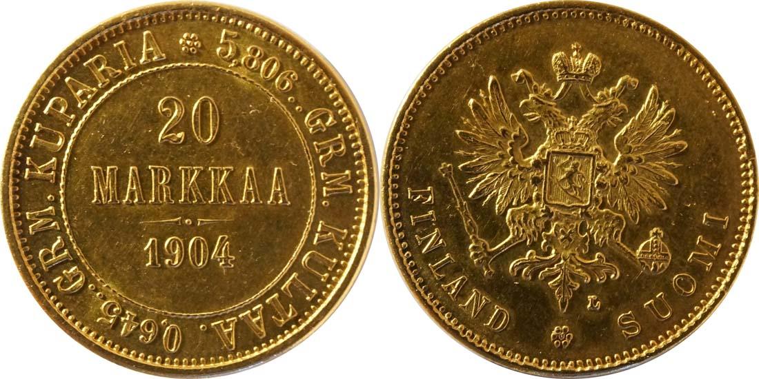 Lieferumfang:Finnland : 20 Markkaa   1904 vz/Stgl.