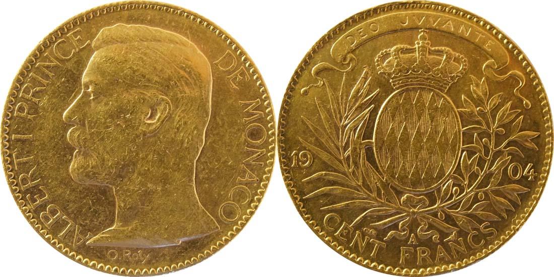 Monaco : 100 Francs Albert winz. Kratzer 1904 vz.