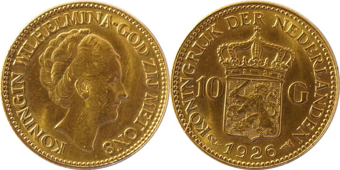 Lieferumfang:Niederlande : 10 Gulden   1926 vz/Stgl.