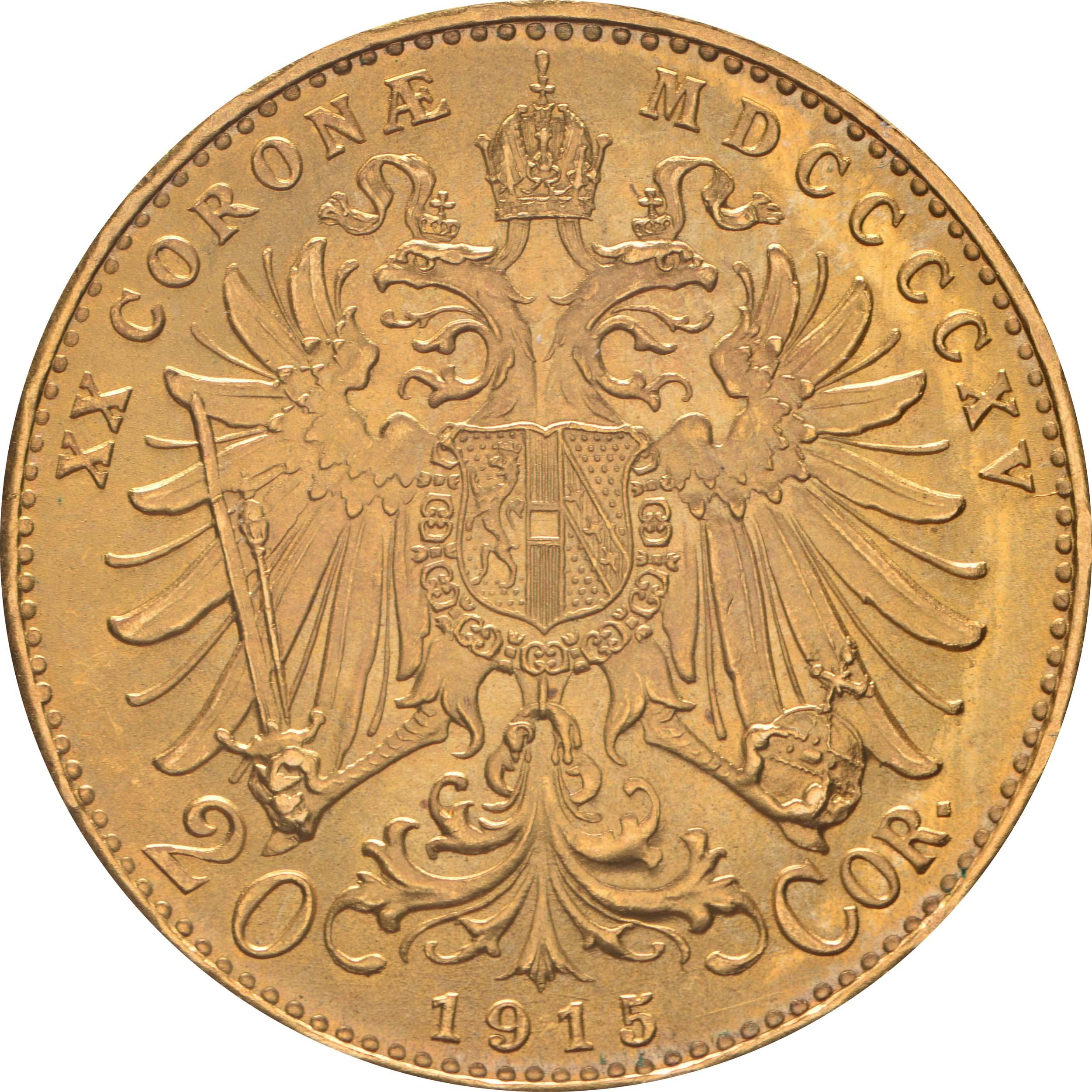 Rückseite:Österreich : 20 Kronen NP  1915 vz/Stgl.