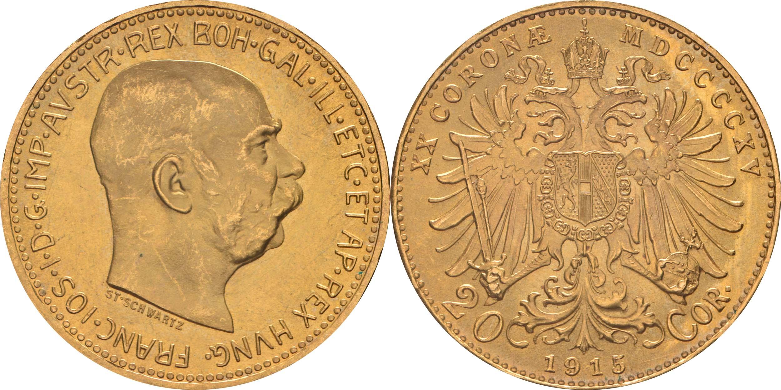 Österreich : 20 Kronen NP  1915 vz/Stgl.