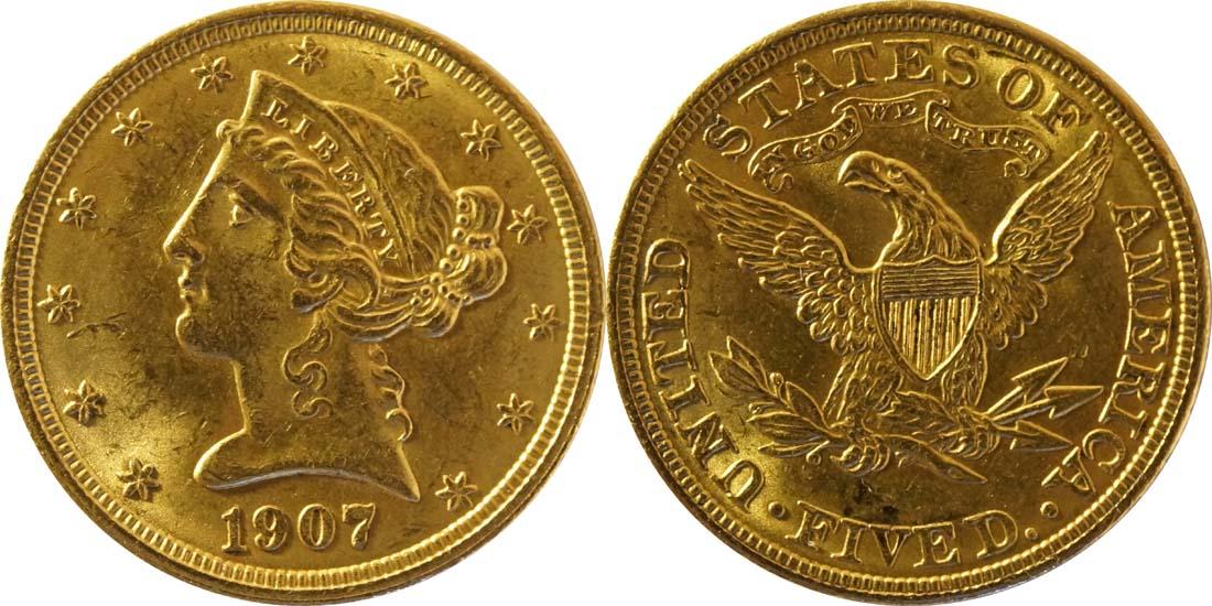 USA : 5 Dollar Kopf  1907 vz/Stgl.