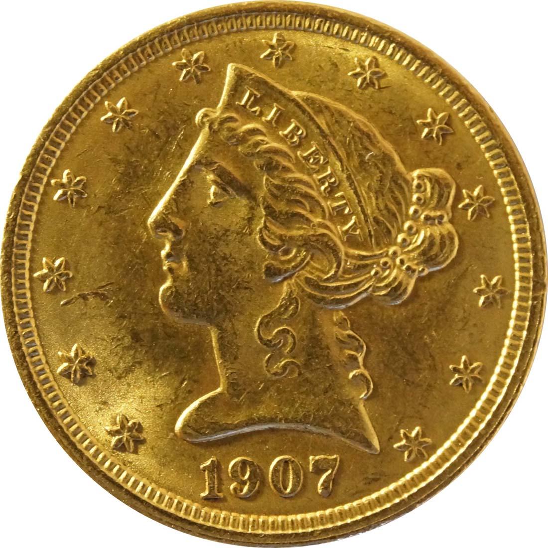 Vorderseite:USA : 5 Dollar Kopf  1907 vz/Stgl.